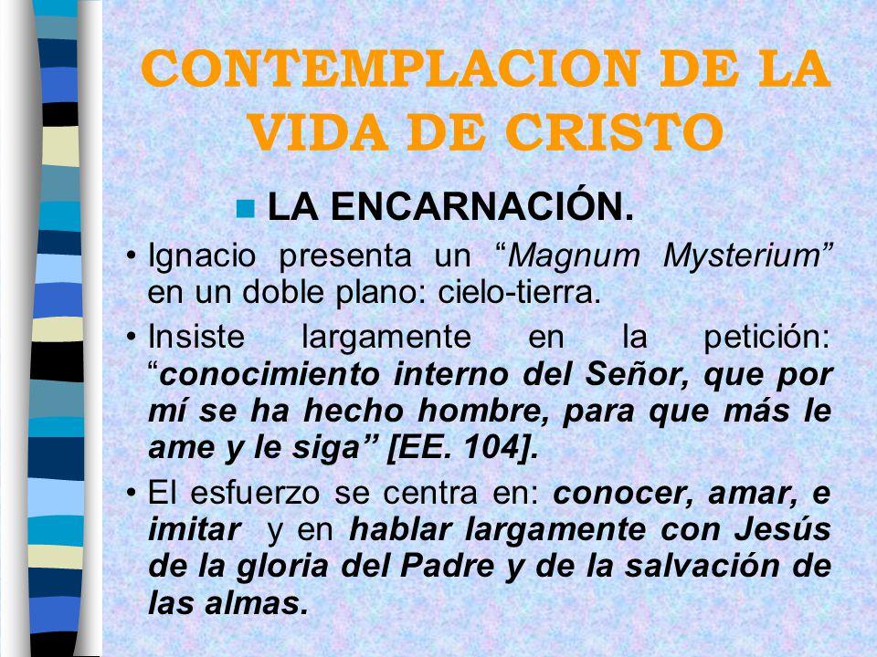 CONTEMPLACION DE LA VIDA DE CRISTO LA ENCARNACIÓN. Ignacio presenta un Magnum Mysterium en un doble plano: cielo-tierra. Insiste largamente en la peti