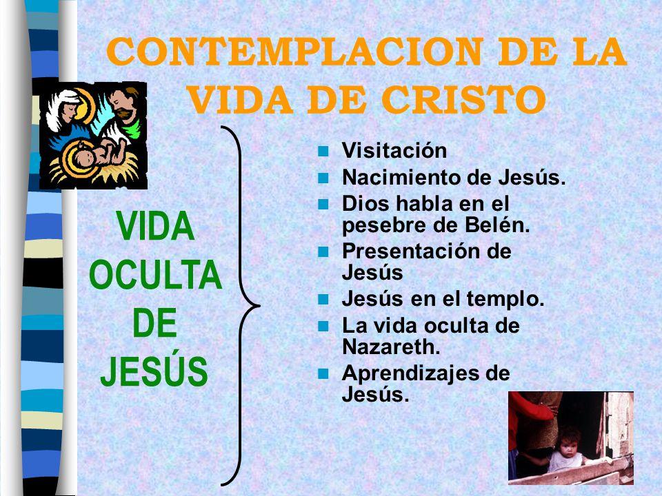 CONTEMPLACION DE LA VIDA DE CRISTO Visitación Nacimiento de Jesús. Dios habla en el pesebre de Belén. Presentación de Jesús Jesús en el templo. La vid