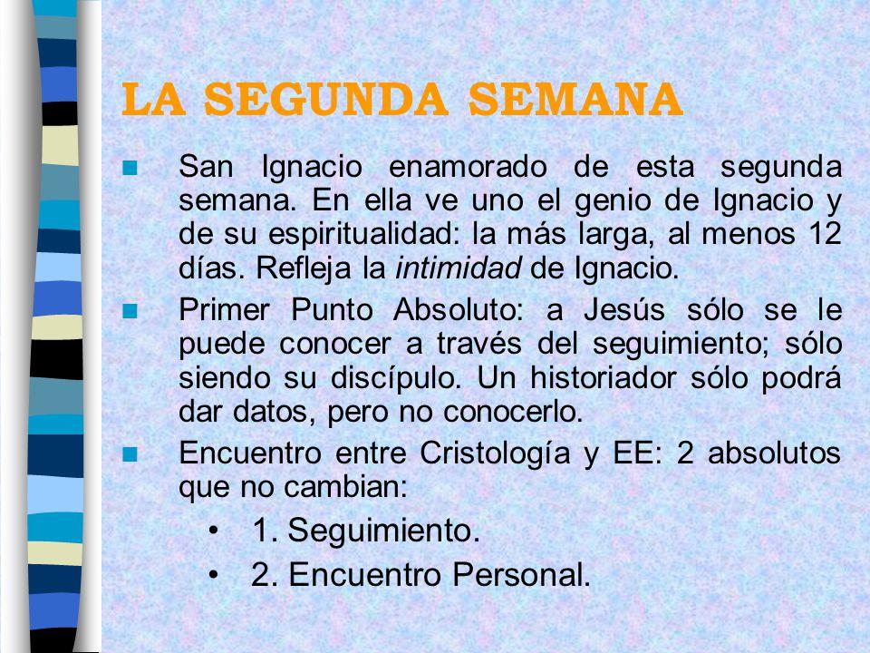 LA SEGUNDA SEMANA San Ignacio enamorado de esta segunda semana. En ella ve uno el genio de Ignacio y de su espiritualidad: la más larga, al menos 12 d