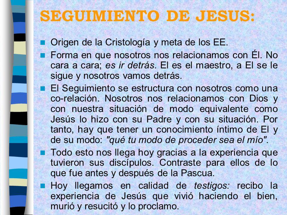 SEGUIMIENTO DE JESUS: Origen de la Cristología y meta de los EE. Forma en que nosotros nos relacionamos con Él. No cara a cara; es ir detrás. El es el
