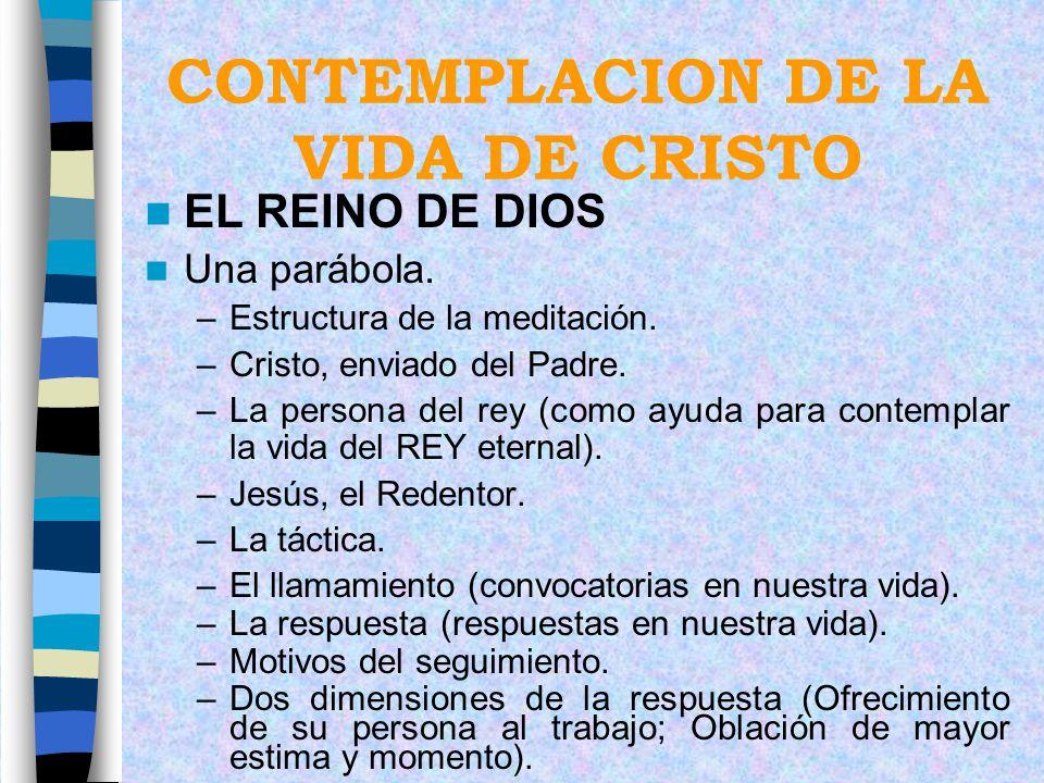 CONTEMPLACION DE LA VIDA DE CRISTO EL REINO DE DIOS Una parábola. –Estructura de la meditación. –Cristo, enviado del Padre. –La persona del rey (como