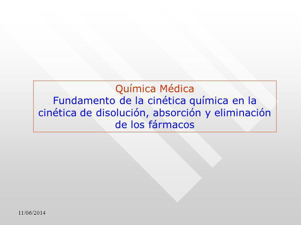11/06/2014 Química Médica Fundamento de la cinética química en la cinética de disolución, absorción y eliminación de los fármacos