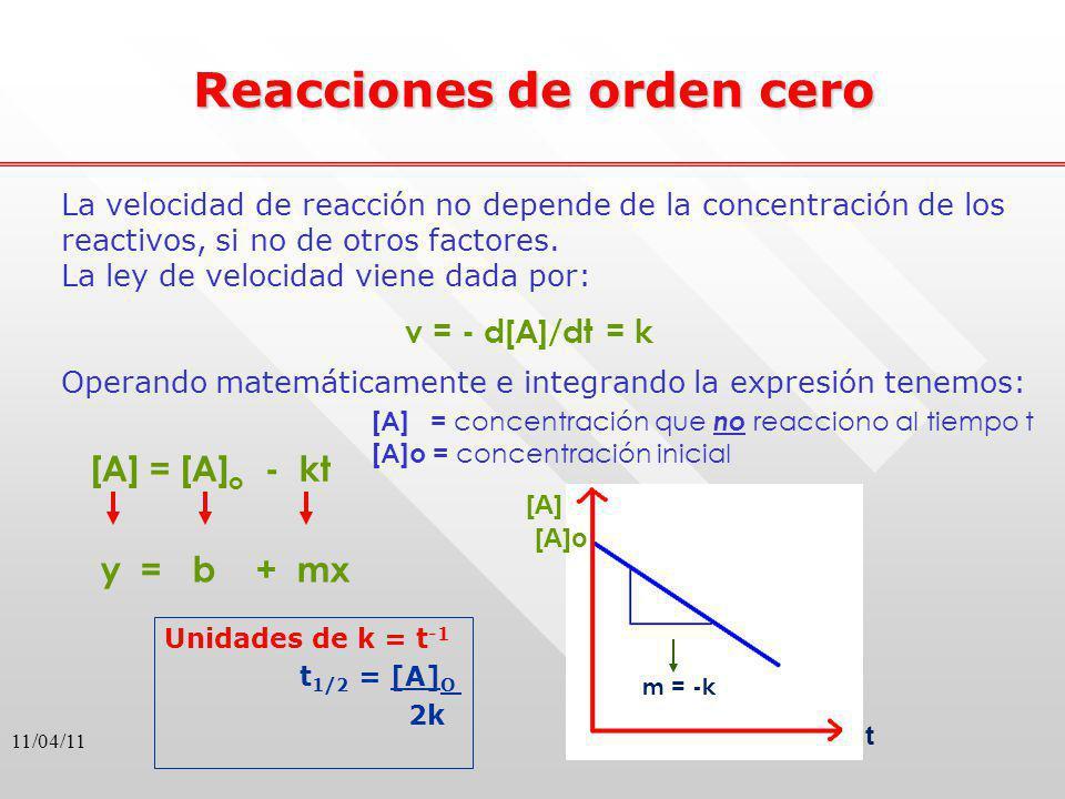 11/04/11 Reacciones de orden cero La velocidad de reacción no depende de la concentración de los reactivos, si no de otros factores. La ley de velocid