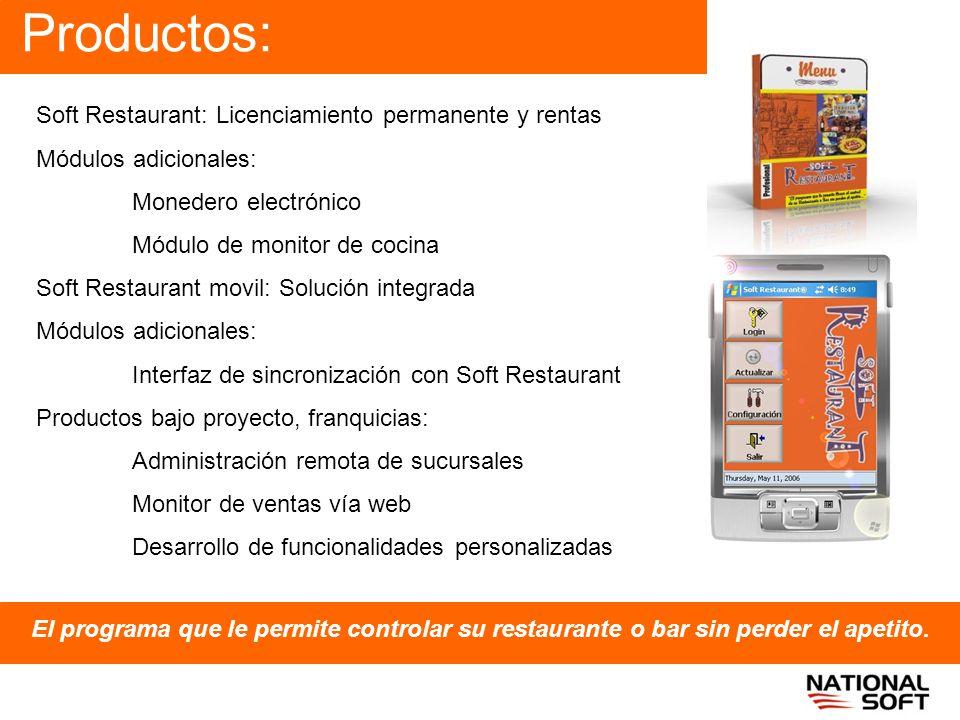 Productos: El programa que le permite controlar su restaurante o bar sin perder el apetito. Soft Restaurant: Licenciamiento permanente y rentas Módulo