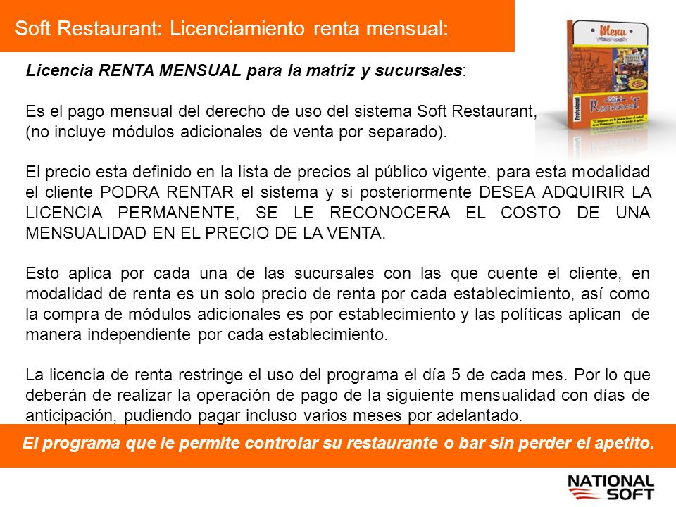 Soft Restaurant: Licenciamiento renta mensual: El programa que le permite controlar su restaurante o bar sin perder el apetito. Licencia RENTA MENSUAL