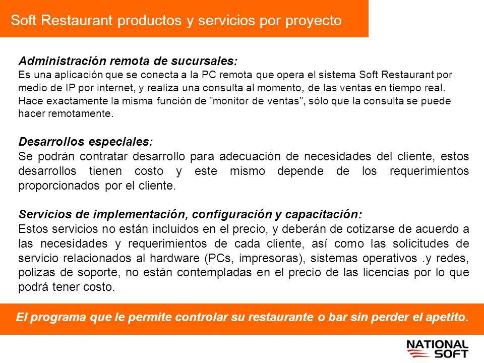 Soft Restaurant productos y servicios por proyecto El programa que le permite controlar su restaurante o bar sin perder el apetito. Administración rem