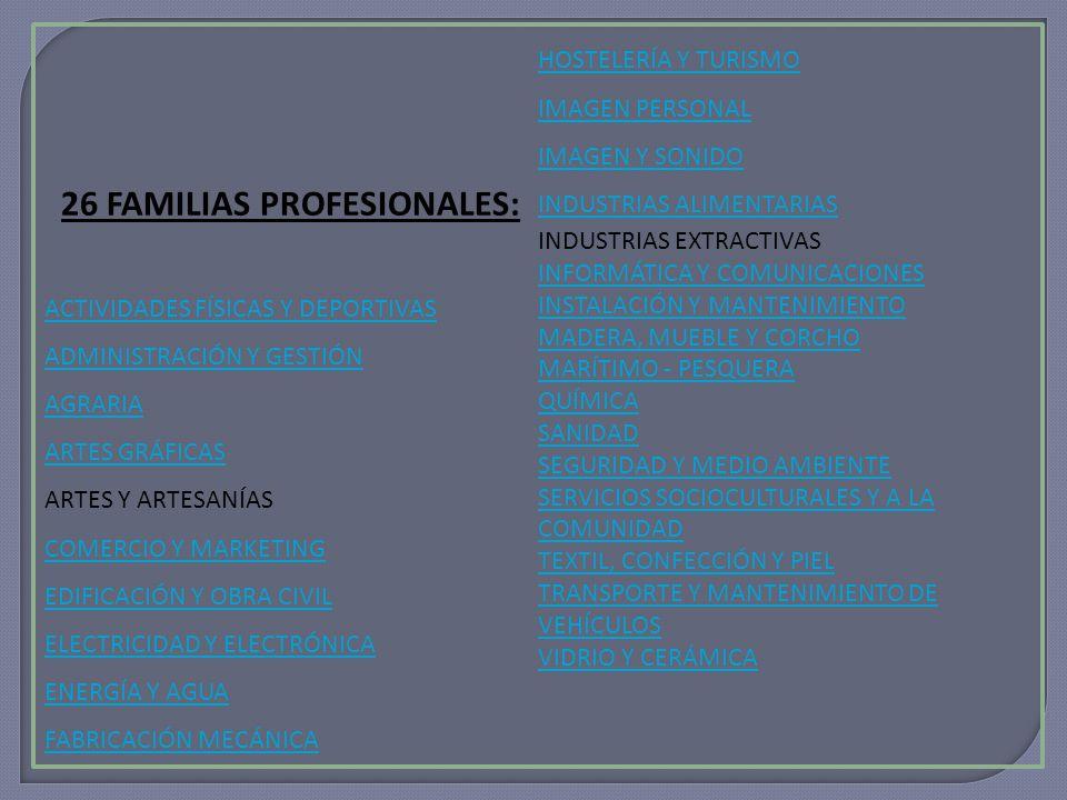 26 FAMILIAS PROFESIONALES: ACTIVIDADES FÍSICAS Y DEPORTIVAS ADMINISTRACIÓN Y GESTIÓN AGRARIA ARTES GRÁFICAS ARTES Y ARTESANÍAS COMERCIO Y MARKETING EDIFICACIÓN Y OBRA CIVIL ELECTRICIDAD Y ELECTRÓNICA ENERGÍA Y AGUA FABRICACIÓN MECÁNICA HOSTELERÍA Y TURISMO IMAGEN PERSONAL IMAGEN Y SONIDO INDUSTRIAS ALIMENTARIAS INDUSTRIAS EXTRACTIVAS INFORMÁTICA Y COMUNICACIONES INSTALACIÓN Y MANTENIMIENTO MADERA, MUEBLE Y CORCHO MARÍTIMO - PESQUERA QUÍMICA SANIDAD SEGURIDAD Y MEDIO AMBIENTE SERVICIOS SOCIOCULTURALES Y A LA COMUNIDAD TEXTIL, CONFECCIÓN Y PIEL TRANSPORTE Y MANTENIMIENTO DE VEHÍCULOS VIDRIO Y CERÁMICA