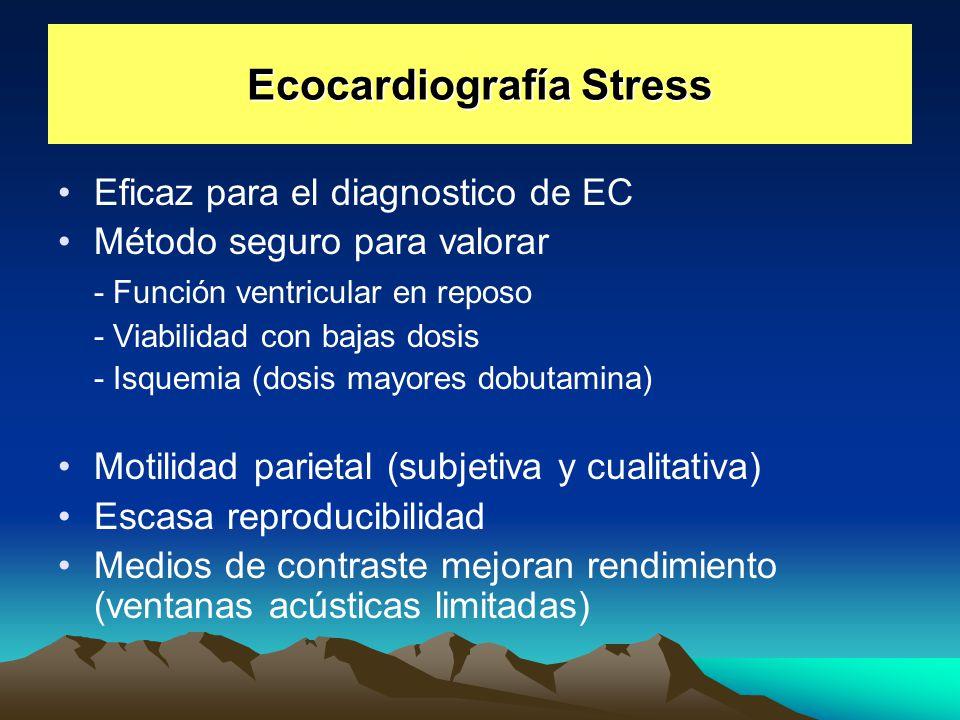 Ecocardiografía Stress Eficaz para el diagnostico de EC Método seguro para valorar - Función ventricular en reposo - Viabilidad con bajas dosis - Isqu