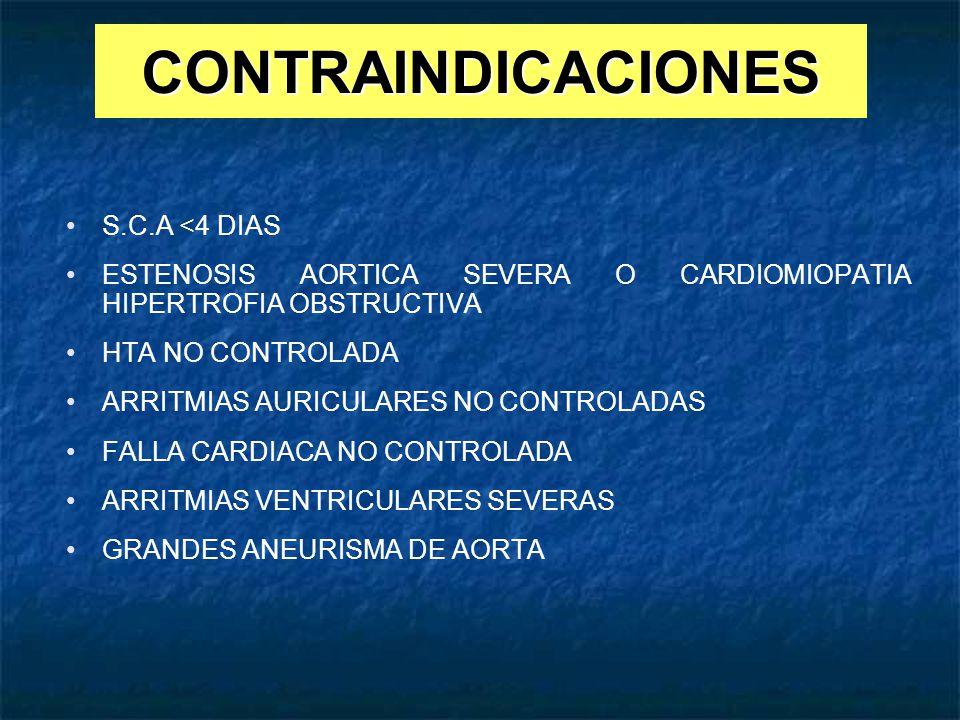 CONTRAINDICACIONES S.C.A <4 DIAS ESTENOSIS AORTICA SEVERA O CARDIOMIOPATIA HIPERTROFIA OBSTRUCTIVA HTA NO CONTROLADA ARRITMIAS AURICULARES NO CONTROLA