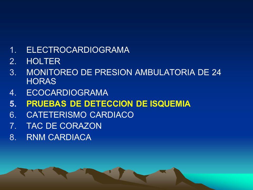1.ELECTROCARDIOGRAMA 2.HOLTER 3.MONITOREO DE PRESION AMBULATORIA DE 24 HORAS 4.ECOCARDIOGRAMA 5.PRUEBAS DE DETECCION DE ISQUEMIA 6.CATETERISMO CARDIAC