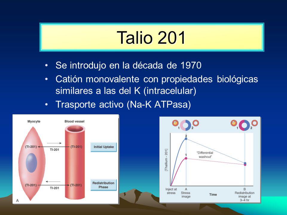 Talio 201 Se introdujo en la década de 1970 Catión monovalente con propiedades biológicas similares a las del K (intracelular) Trasporte activo (Na-K