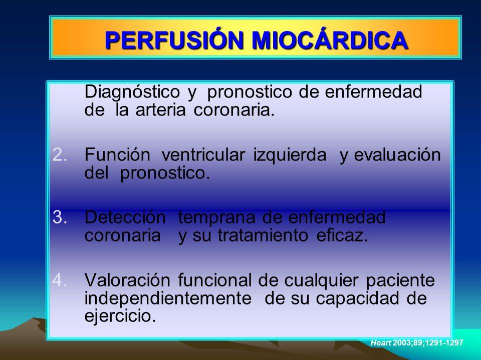1.Diagnóstico y pronostico de enfermedad de la arteria coronaria. 2.Función ventricular izquierda y evaluación del pronostico. 3.Detección temprana de