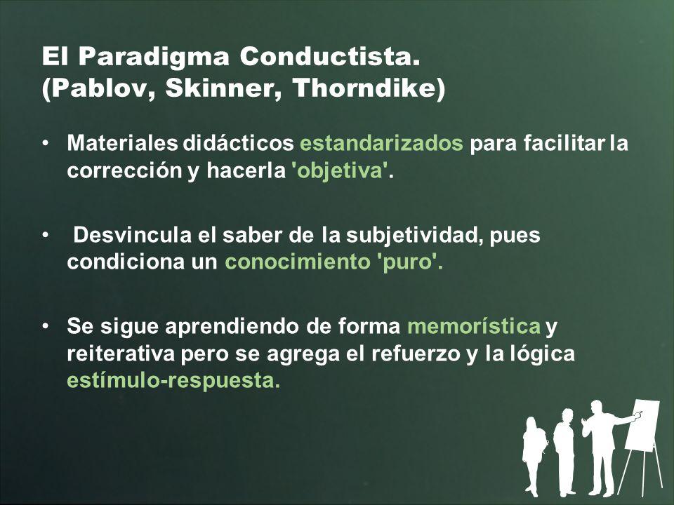 El Paradigma Conductista. (Pablov, Skinner, Thorndike) Materiales didácticos estandarizados para facilitar la corrección y hacerla 'objetiva'. Desvinc
