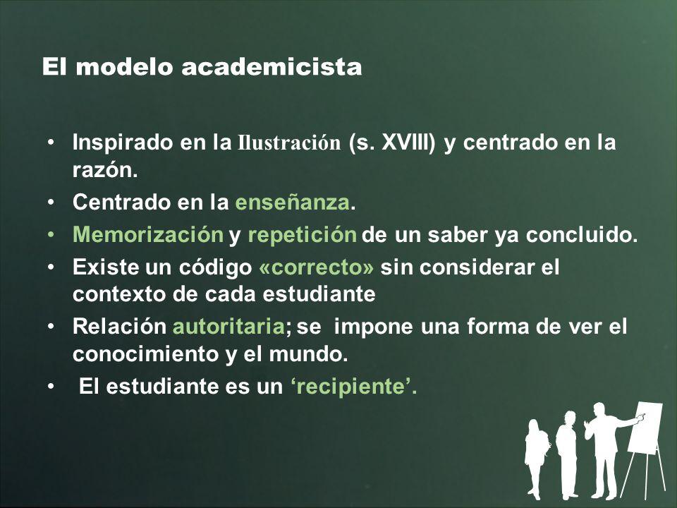 El modelo academicista Inspirado en la Ilustración (s. XVIII) y centrado en la razón. Centrado en la enseñanza. Memorización y repetición de un saber
