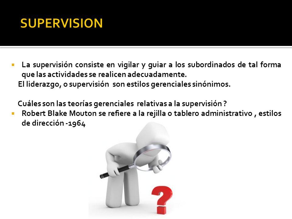 La supervisión consiste en vigilar y guiar a los subordinados de tal forma que las actividades se realicen adecuadamente. El liderazgo, o supervisión