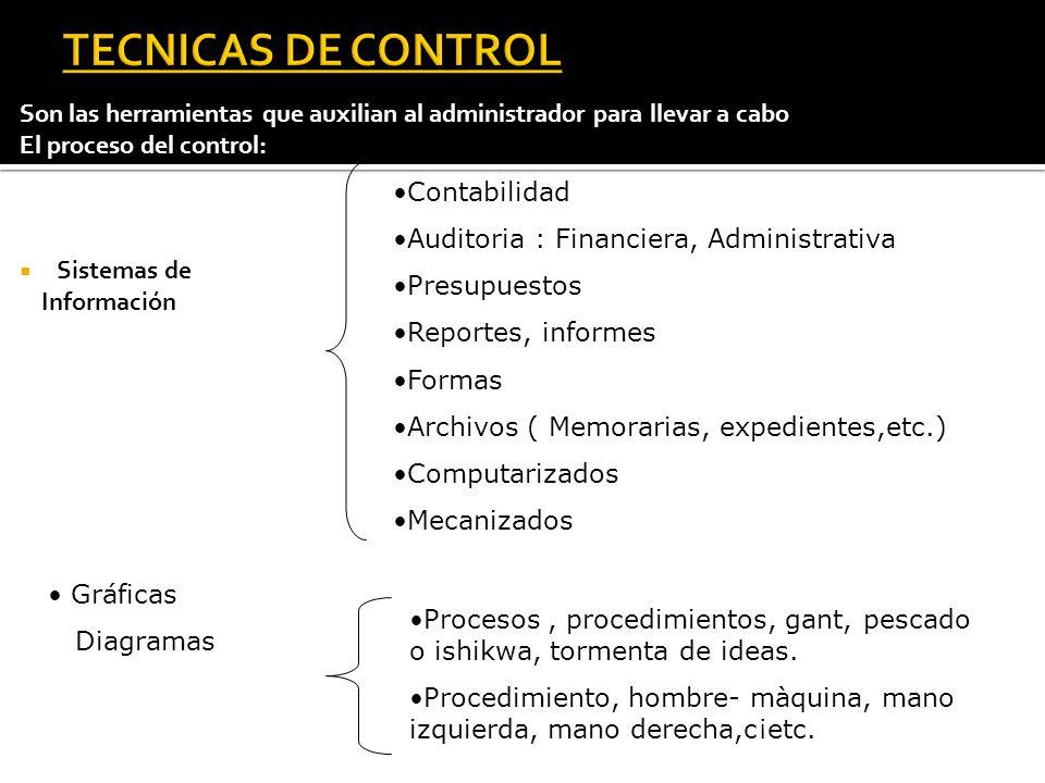 Son las herramientas que auxilian al administrador para llevar a cabo El proceso del control: Sistemas de Información Contabilidad Auditoria : Financi