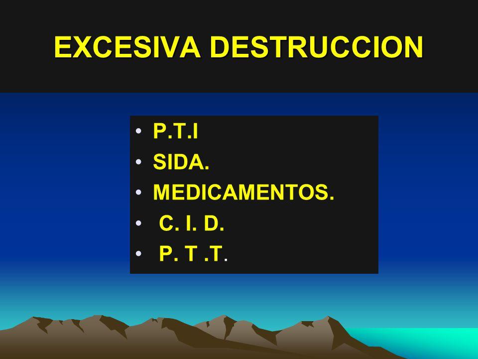 EXCESIVA DESTRUCCION P.T.I SIDA. MEDICAMENTOS. C. I. D. P. T.T.