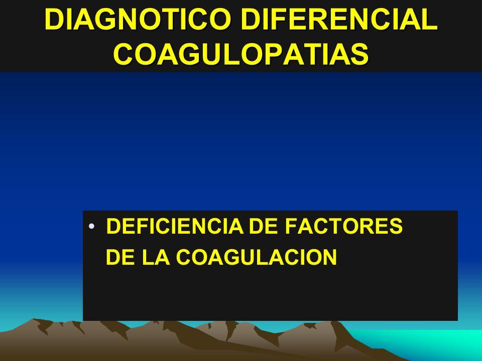 DIAGNOTICO DIFERENCIAL COAGULOPATIAS DEFICIENCIA DE FACTORES DE LA COAGULACION