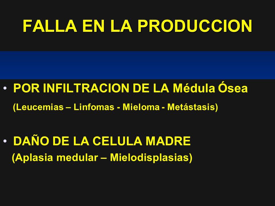 FALLA EN LA PRODUCCION POR INFILTRACION DE LA Médula Ósea (Leucemias – Linfomas - Mieloma - Metástasis) DAÑO DE LA CELULA MADRE (Aplasia medular – Mie