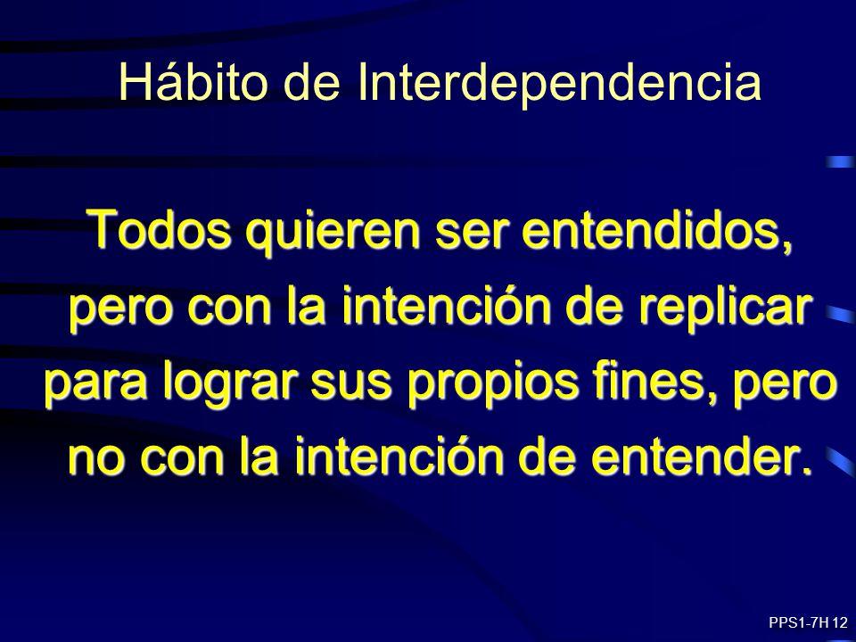 Hábito de Interdependencia Todos quieren ser entendidos, pero con la intención de replicar para lograr sus propios fines, pero no con la intención de