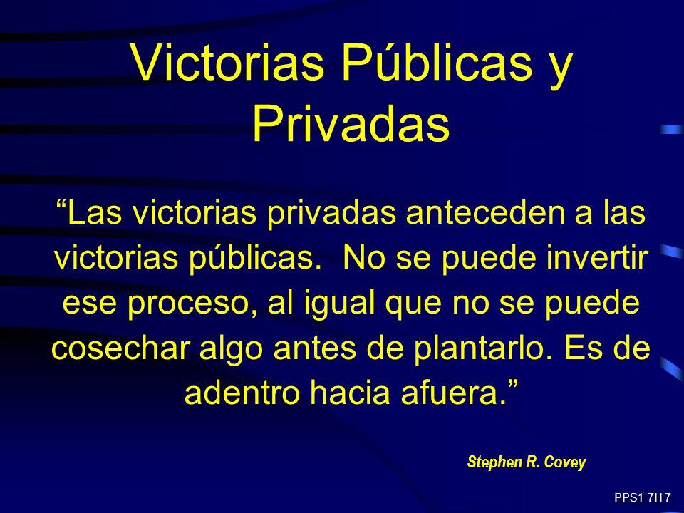 Victorias Públicas y Privadas Las victorias privadas anteceden a las victorias públicas. No se puede invertir ese proceso, al igual que no se puede co