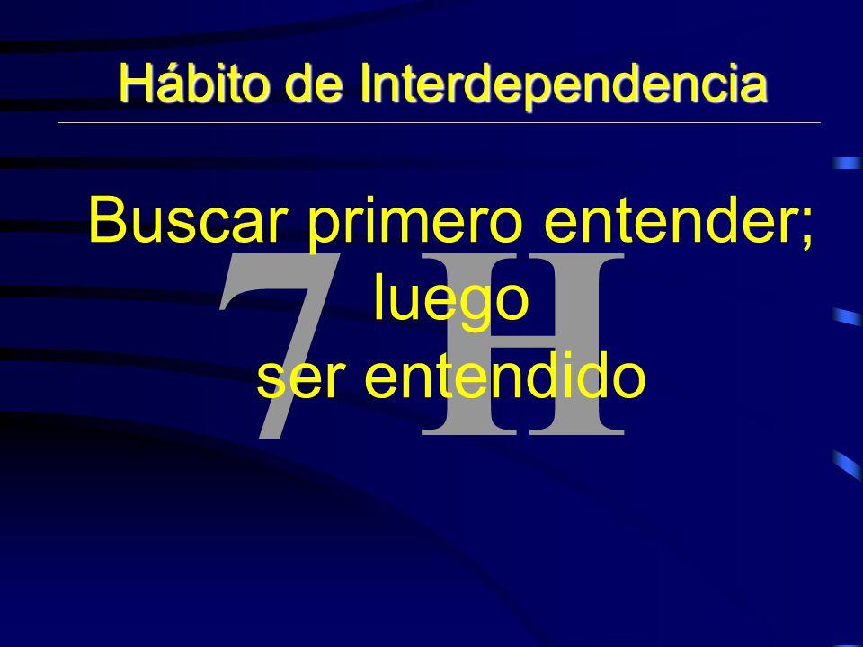 7 H Hábito de Interdependencia Buscar primero entender; luego ser entendido
