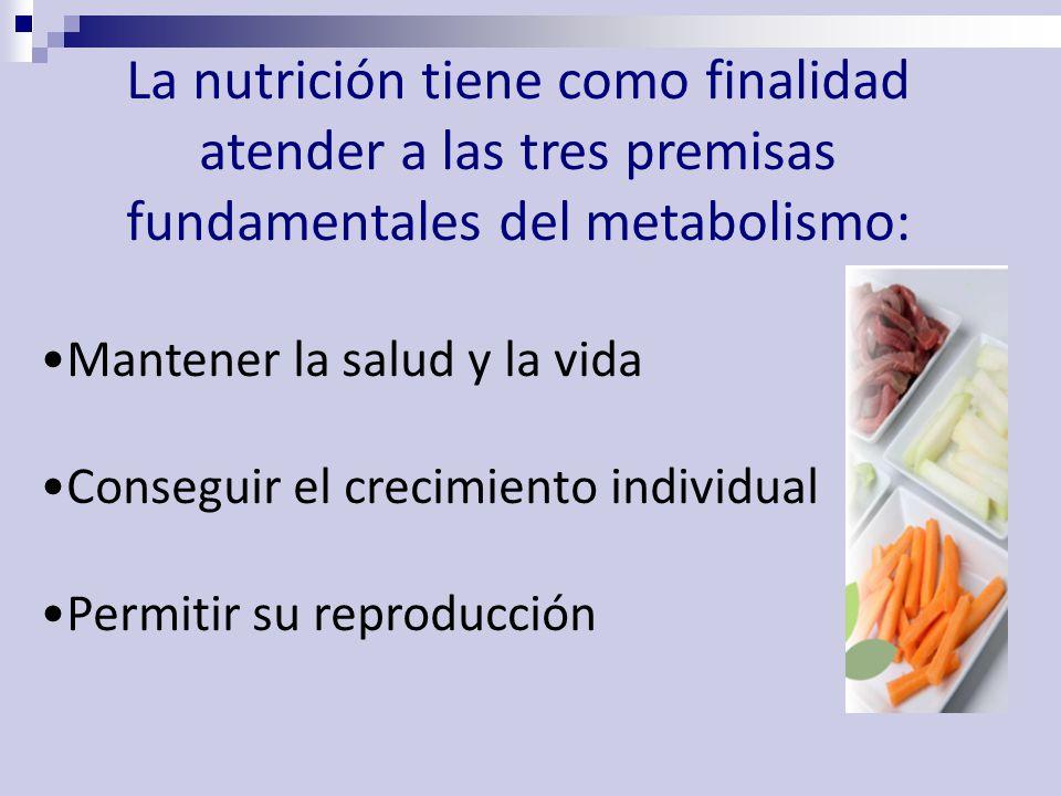 La nutrición tiene como finalidad atender a las tres premisas fundamentales del metabolismo: Mantener la salud y la vida Conseguir el crecimiento individual Permitir su reproducción