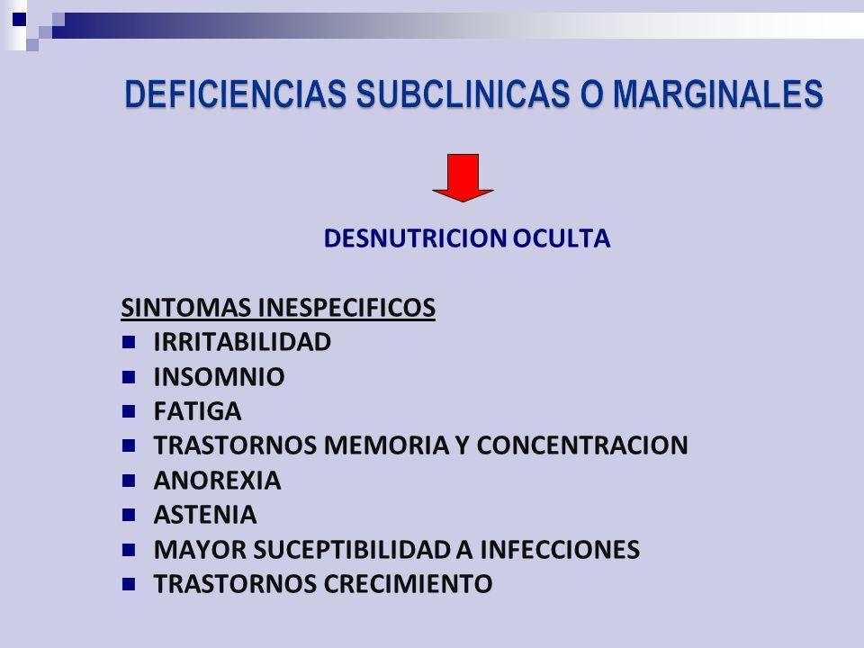 DESNUTRICION OCULTA SINTOMAS INESPECIFICOS IRRITABILIDAD INSOMNIO FATIGA TRASTORNOS MEMORIA Y CONCENTRACION ANOREXIA ASTENIA MAYOR SUCEPTIBILIDAD A INFECCIONES TRASTORNOS CRECIMIENTO