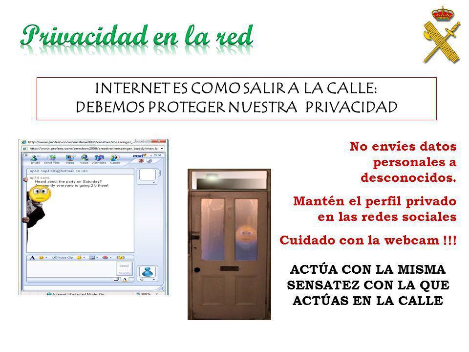 INTERNET ES COMO SALIR A LA CALLE: DEBEMOS PROTEGER NUESTRA PRIVACIDAD No envíes datos personales a desconocidos. Mantén el perfil privado en las rede