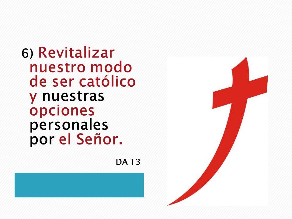 6) Revitalizar nuestro modo de ser católico y nuestras opciones personales por el Señor. DA 13