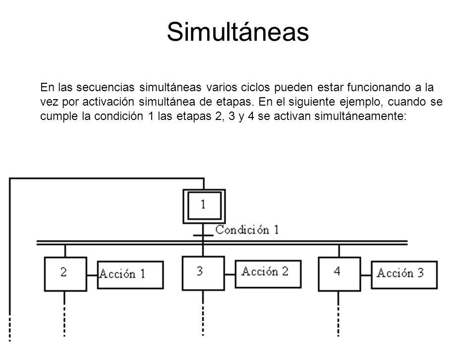Simultáneas En las secuencias simultáneas varios ciclos pueden estar funcionando a la vez por activación simultánea de etapas.