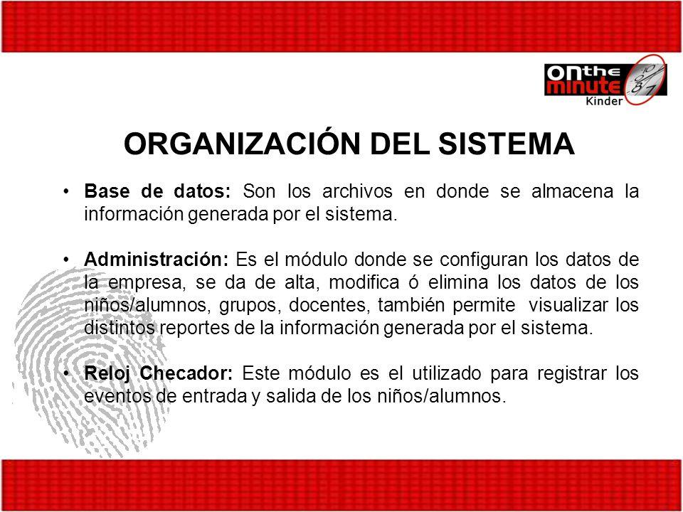 Base de datos: Son los archivos en donde se almacena la información generada por el sistema. Administración: Es el módulo donde se configuran los dato