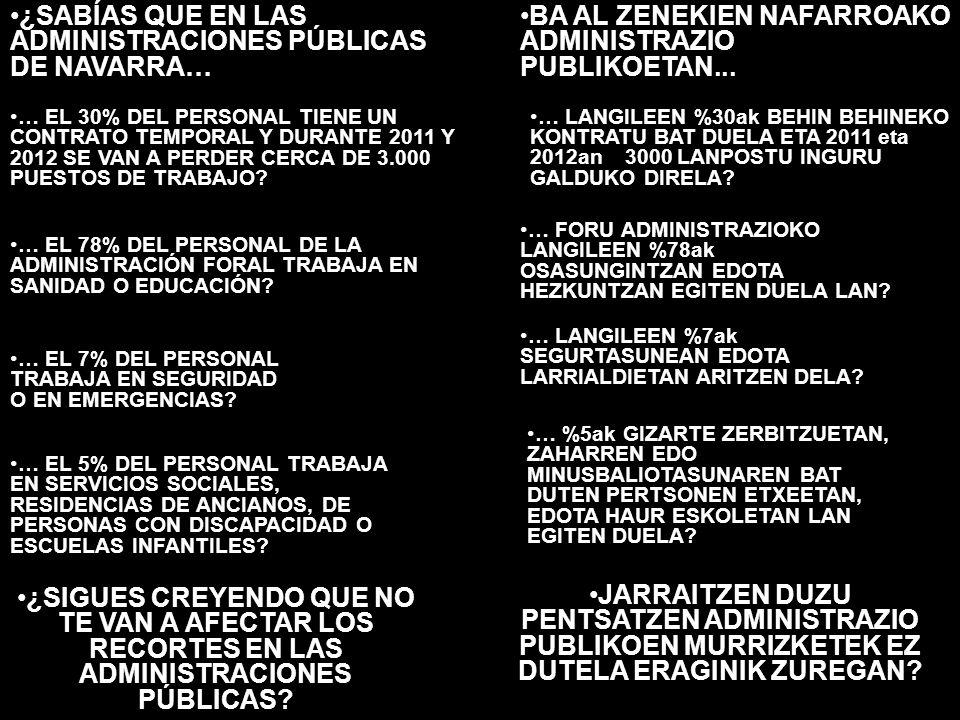 ¿SABÍAS QUE EN LAS ADMINISTRACIONES PÚBLICAS DE NAVARRA… BA AL ZENEKIEN NAFARROAKO ADMINISTRAZIO PUBLIKOETAN...