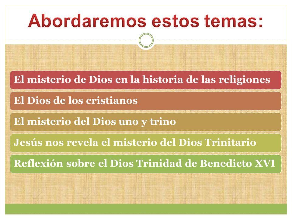 El misterio de Dios en la historia de las religionesEl Dios de los cristianosEl misterio del Dios uno y trinoJesús nos revela el misterio del Dios TrinitarioReflexión sobre el Dios Trinidad de Benedicto XVI