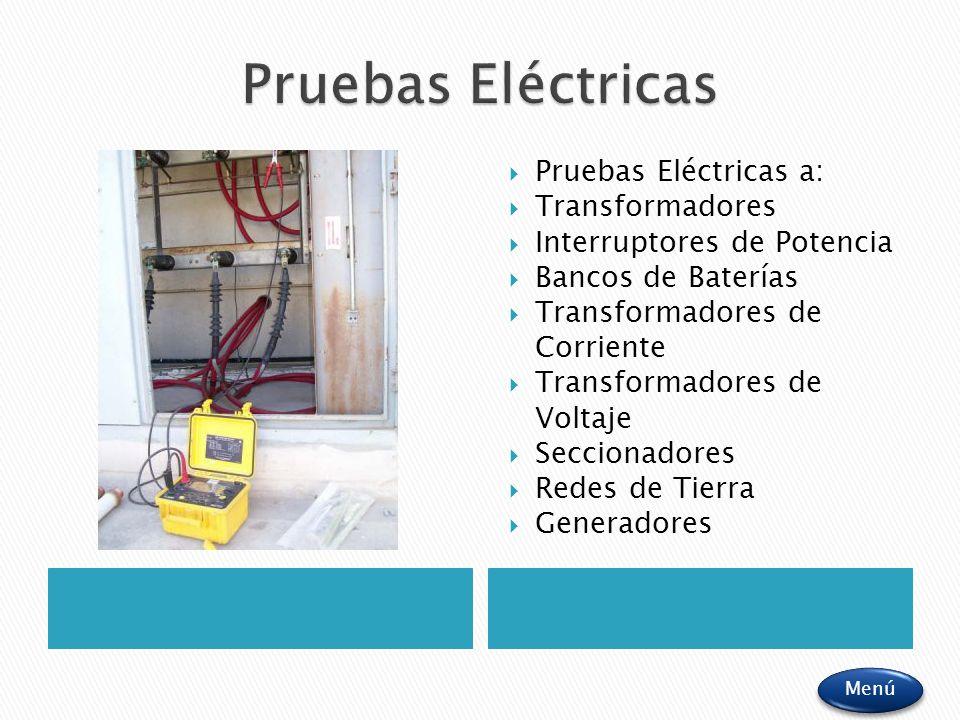 Pruebas Eléctricas a: Transformadores Interruptores de Potencia Bancos de Baterías Transformadores de Corriente Transformadores de Voltaje Seccionador