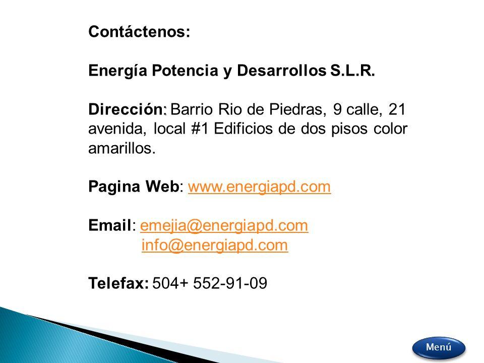 Contáctenos: Energía Potencia y Desarrollos S.L.R. : Dirección: Barrio Rio de Piedras, 9 calle, 21 avenida, local #1 Edificios de dos pisos color amar