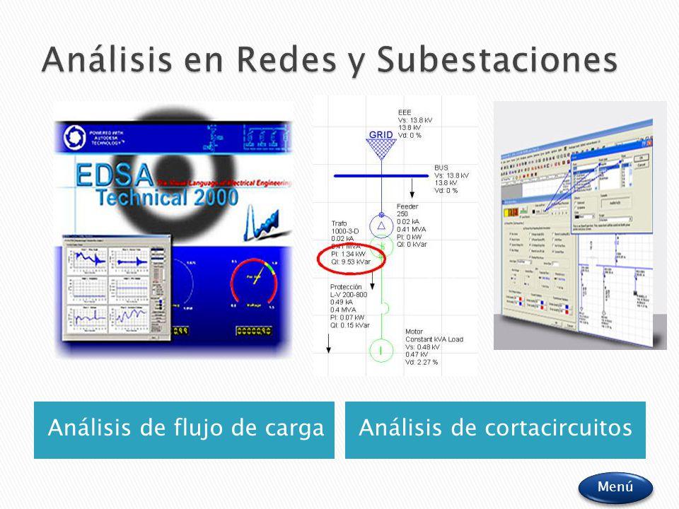 Análisis de flujo de cargaAnálisis de cortacircuitos Menú