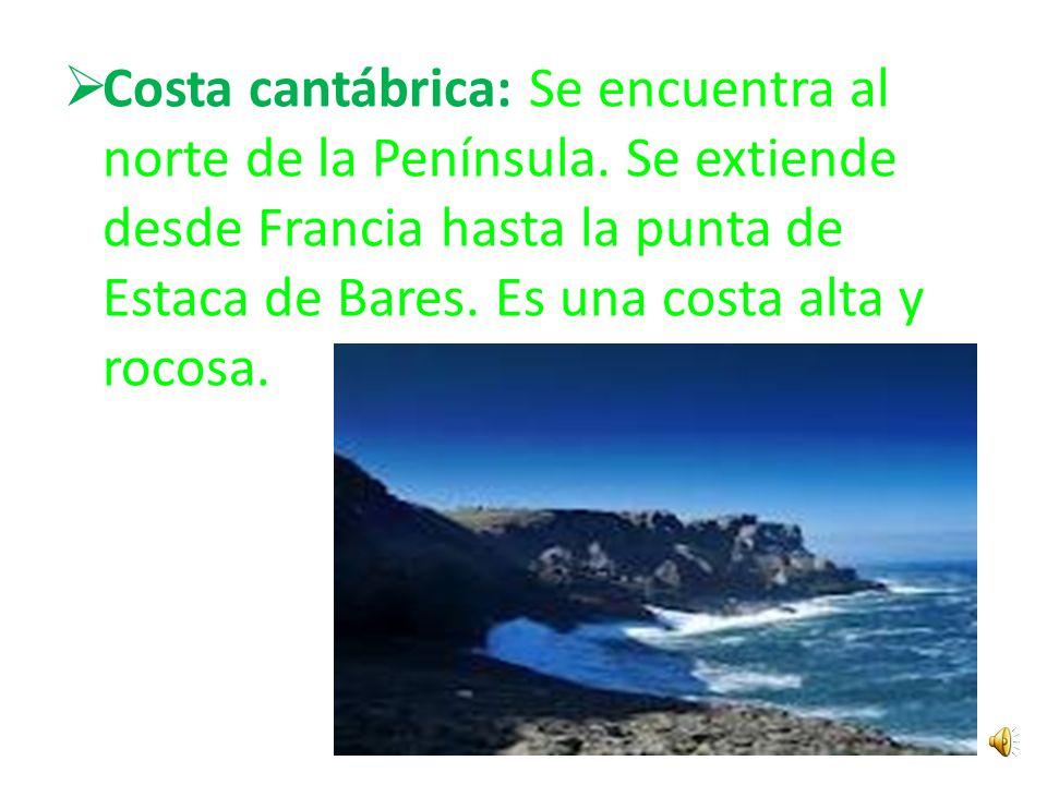 Costa mediterránea: se extiende desde la punta de Tarifa hasta Francia y por las costas de Ceuta y Melilla. En esta costa se alternan zonas rocosas y