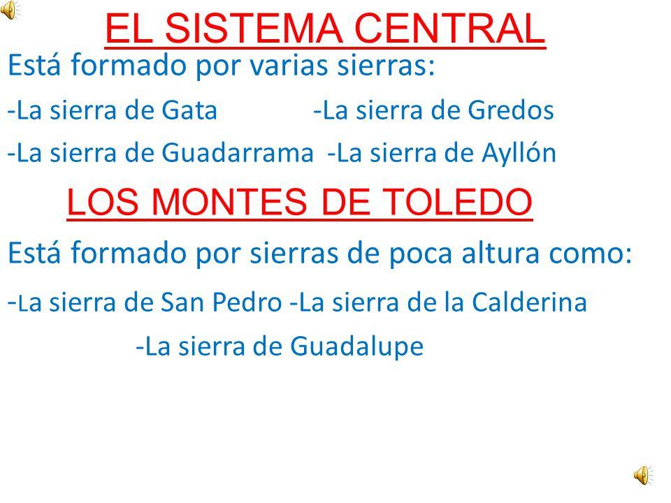 La Meseta Central se encuentra en el centro de la Península Ibérica. En el interior de la Meseta hay dos cadenas montañosas: