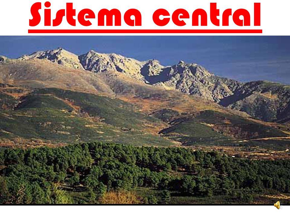 EL SISTEMA CENTRAL Está formado por varias sierras: -La sierra de Gata -La sierra de Gredos -La sierra de Guadarrama -La sierra de Ayllón LOS MONTES D