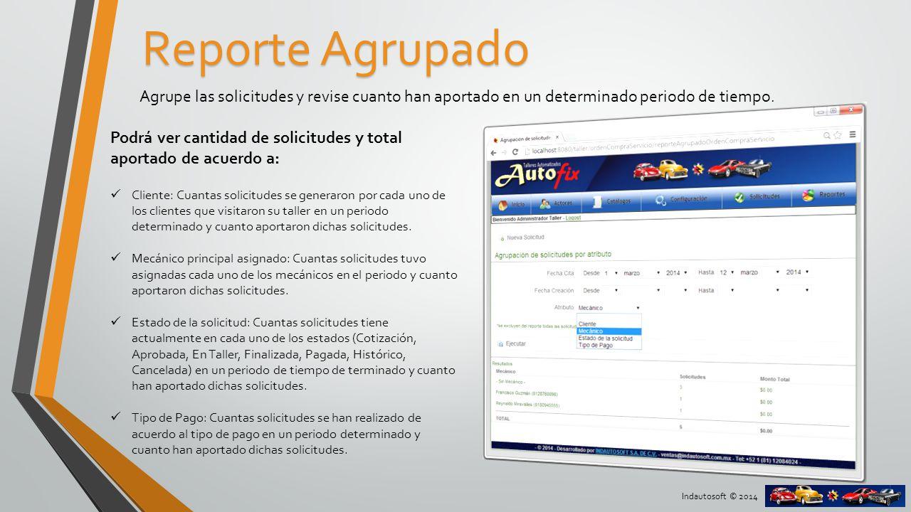 Indautosoft © 2014 Reporte por productos y servicios Revise la cantidad y el detalle económico por cada producto y servicio.