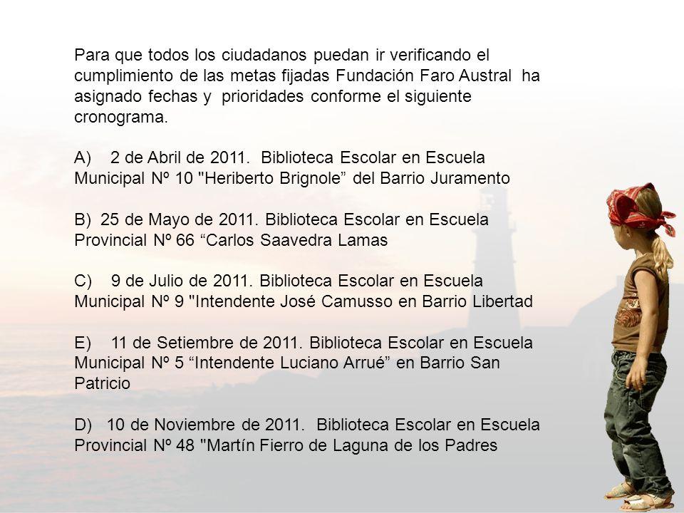 Para que todos los ciudadanos puedan ir verificando el cumplimiento de las metas fijadas Fundación Faro Austral ha asignado fechas y prioridades conforme el siguiente cronograma.