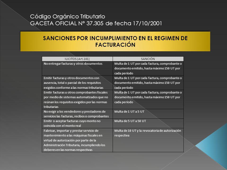SANCIONES POR INCUMPLIMIENTO EN EL REGIMEN DE FACTURACIÓN Código Orgánico Tributario GACETA OFICIAL N° 37.305 de fecha 17/10/2001 ILICITOS (Art.101)SA