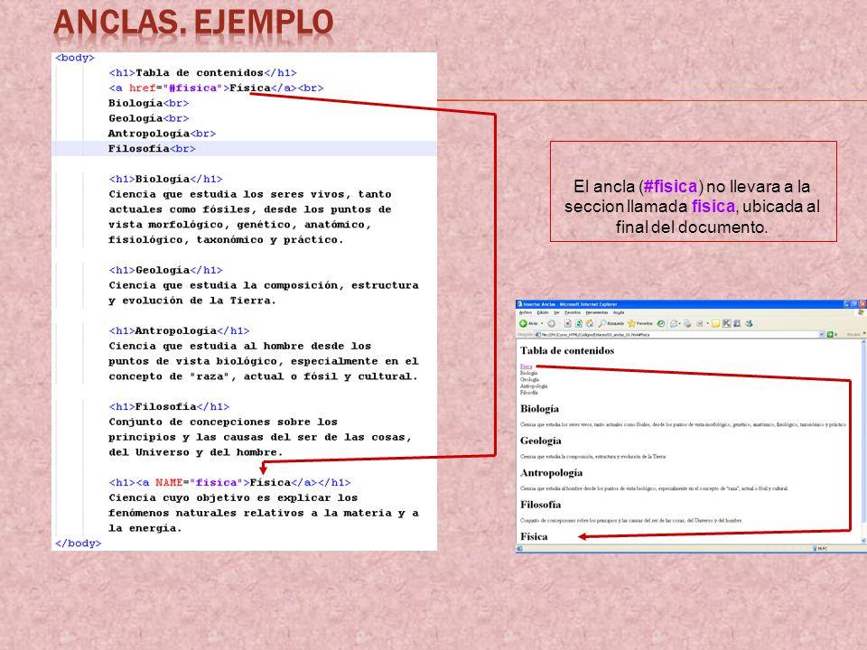 El ancla (#fisica) no llevara a la seccion llamada fisica, ubicada al final del documento.