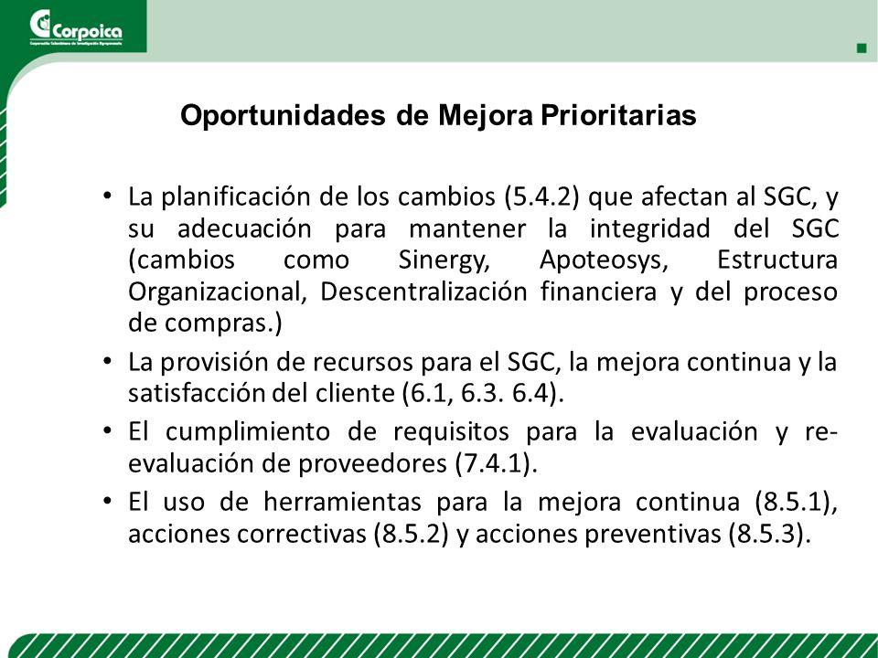 Oportunidades de Mejora Prioritarias La planificación de los cambios (5.4.2) que afectan al SGC, y su adecuación para mantener la integridad del SGC (