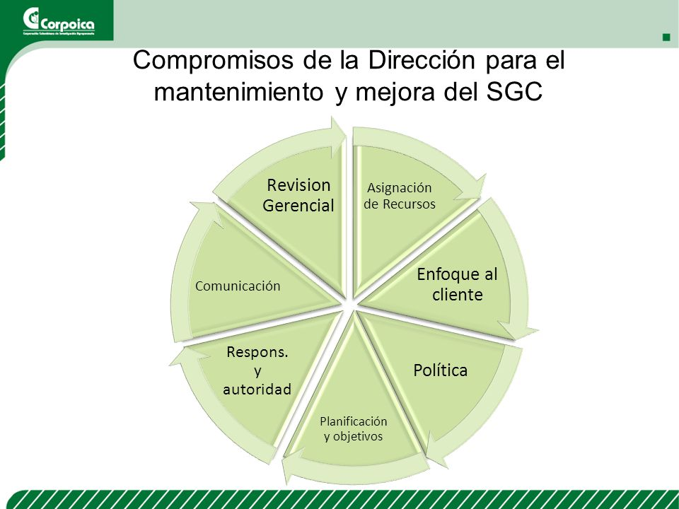 Compromisos de la Dirección para el mantenimiento y mejora del SGC Asignación de Recursos Enfoque al cliente Política Planificación y objetivos Respon
