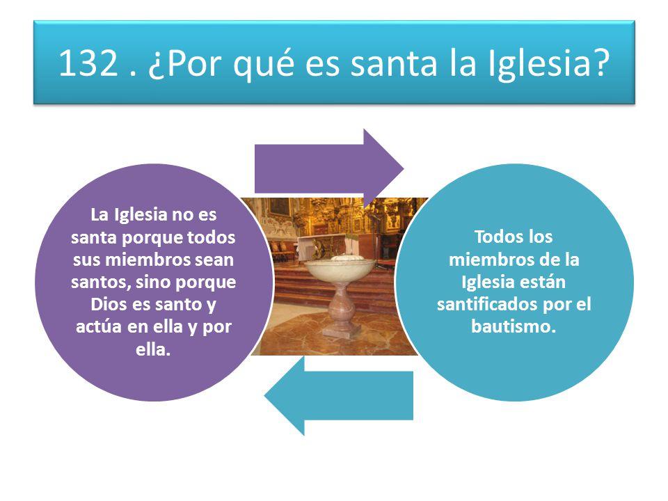 132.¿Por qué es santa la Iglesia.