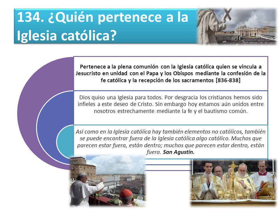 134.¿Quién pertenece a la Iglesia católica.
