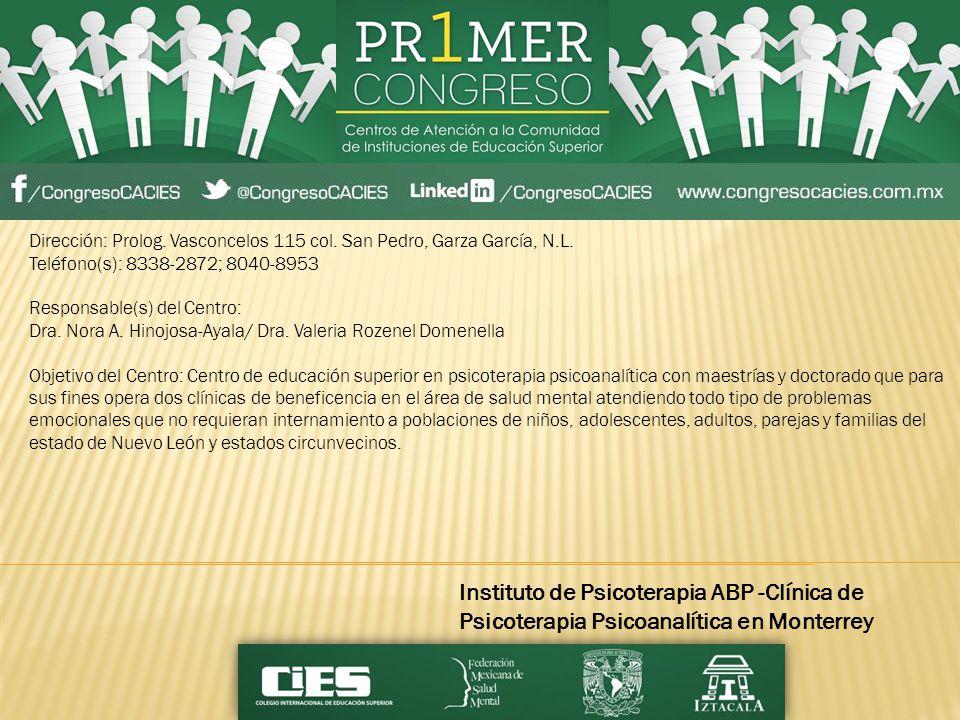 Dirección: Prolog. Vasconcelos 115 col. San Pedro, Garza García, N.L.