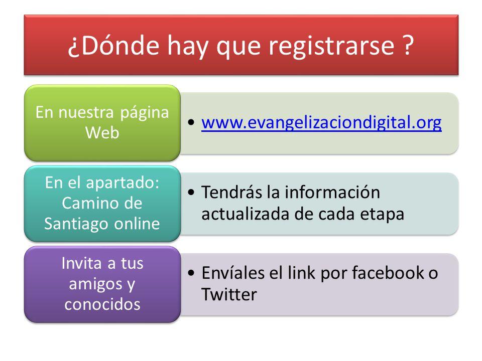 ¿Dónde hay que registrarse ? www.evangelizaciondigital.org En nuestra página Web Tendrás la información actualizada de cada etapa En el apartado: Cami
